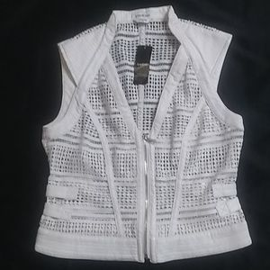 bebe Lace Vest with Zipper Front